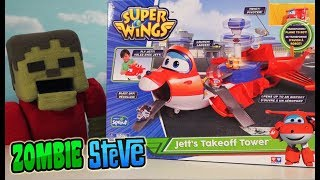 Super Wings Jett's Takeoff Tower Playset Toys Airport Minecraft Unboxing Full episode