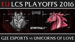 G2 Esports vs Unicorns of Love Game 1 Highlights Semifinal EU LCS Summer Playoffs 2016, G2 vs UOL G1