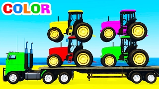COLOR TRACTORS on Truck & Spiderman Cars Cartoon for Kids and Colors for Children w Nursery Rhymes