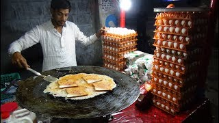 Bread Omelette Street Food | Egg Fry Omelette with Bread @ 20 rs Each | Hyderabad Street Food