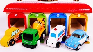 Ambulance Taxi Cement Mixer Toy Vehicles Parking Garage Playset Learn Colors