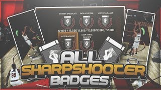NBA 2K18 Tips: HOW TO GET ALL SHARPSHOOTER BADGES FAST + EASY!! How To Shoot Better!