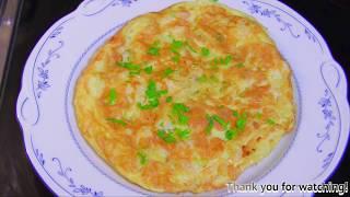 How to make Prawns & Onion Omelette : ไข่เจียวกุ้งและหอมใหญ่