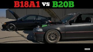 DOHC Non-VTEC Battle - B18A1 CRX Vs B20B Civic EF Hatchback