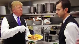 Donald Trump works as a Waiter at his own Hotel