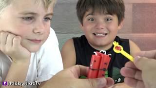 HobbyDad is a Surprise Egg Full of Surprise Toys! HobbyKids Pull Nerf and Spinners HobbyKidsTV