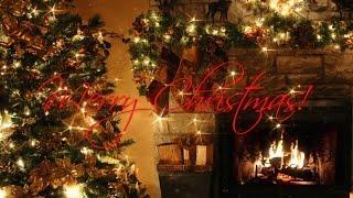 Merry Christmas! Christmas Tree with Fireplace + Xmas Song HD 4k