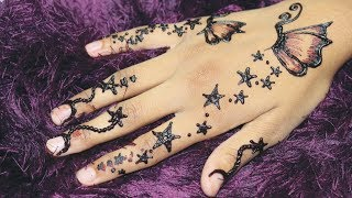 Classy Butterfly Mehndi Style for Kids - Little Princesses Star Style Crazy Henna Art