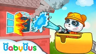 Baby Panda Fights a Fire | Brave Fireman Compilation | Kids Role Play | BabyBus