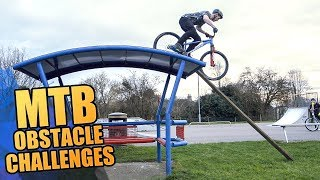 MOUNTAIN BIKE OBSTACLE CHALLENGES *CRASHES*