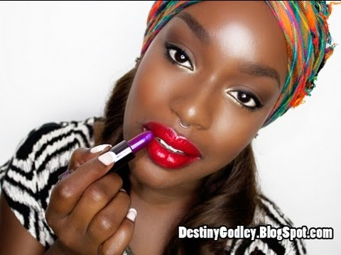 Red Purple Nude Lipstick on BIG LIPS