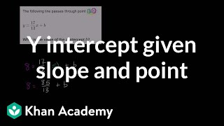 Finding y intercept given slope and point | Algebra Basics | Khan Academy