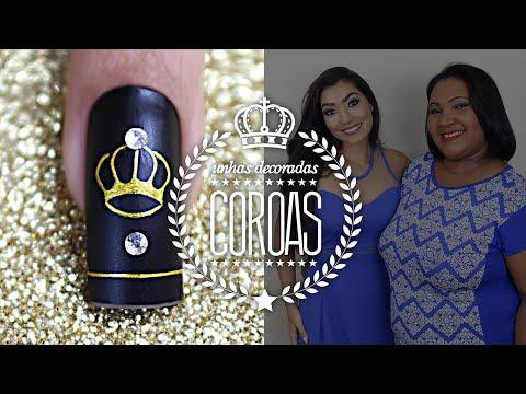 Unhas Decoradas com Desenho de Coroa Crown Nails Cola na Villar