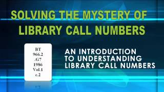 How to Read LIbrary of Congress Call Numbers Tutorial