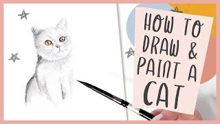 How To Draw and Paint a Cat With Watercolor - Tutorial