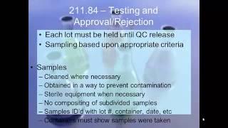 GMP Presentation CFR 21 Parts 210 211