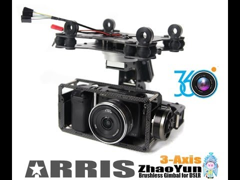 Arris 360 degrees 3 axis gimbal for NEX 5 FPV TEST with Tarot T810