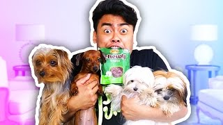 EATING PUPPY SNACKS WITH PUPPIES CHALLENGE!