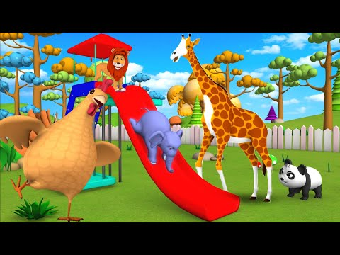 Elephant & Monkey Play with Forest Animals to Ride on Slider in Jungle Animals Comedy Video