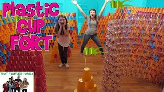 WE BUILT A HUGE PLASTIC CUP FORT! / That YouTub3 Family