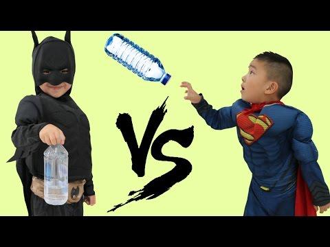 Superhero Bottle Flip Challenge Batman Vs Superman Kids Amazing Trick Shots Fun With Ckn Toys