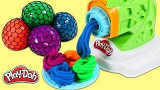 Learn Colors with Squishy Color Changing Mesh Balls & Play Doh Pasta Maker!