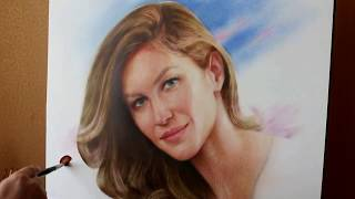 Drawing portrait of Gisele Bündchen in the technique a dry brush. Painting by Yakov Dedyk.