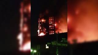 Video shows massive fire engulfing London apartment building