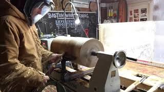 Woodturning an elm vase