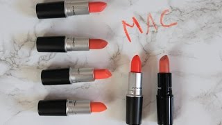 My MAC Lipstick Collection - The Oranges/Peaches | Raining Cake Blog