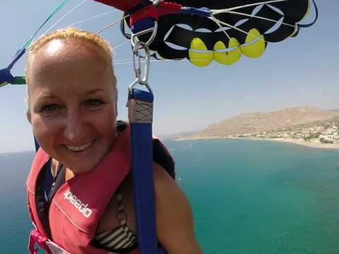Parasailing with little child at Costa Lindia, Lardos | Rodos Water Sports Action