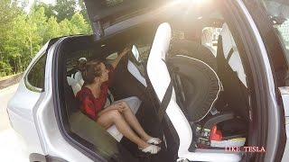 Tesla Model X third row access and car seats