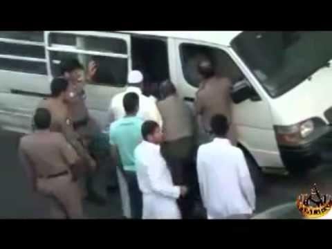 Police Arresting Ethiopian woman in Jeddah, Saudi Arabia