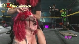 WSU: LuFisto is beaten bloody by DJ Hyde and The Office (CZWstudios.com) WOMEN'S WRESTLING