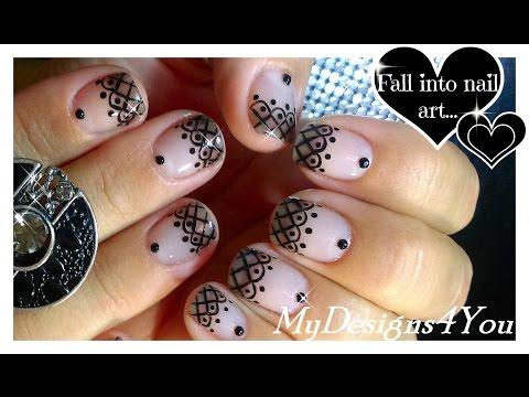Lace Nail Art With Sheer Polish Black Lace Short Nails ♥ Прозрач� ый Дизай� Ногтей Колготки