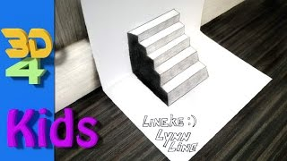 easy 3d drawing STAIRS on paper for kids and beginners
