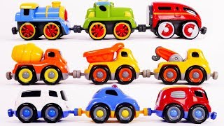 Trains Construction Vehicles and Emergency Vehicles Tailgate Trio Playset Toys for Kids Learn Colors