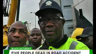 Five killed as Container falls on commercial bus in Ojota, Lagos