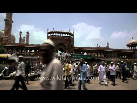People gathered outside Jama Masjid, Old Delhi