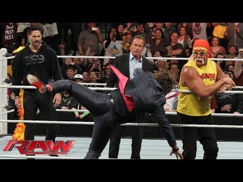 Arnold Schwarzenegger and Joe Manganiello join Hulk Hogan in the ring: Raw, March 24, 2014