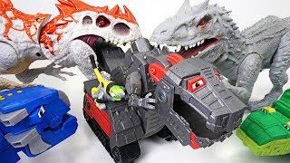 Dinosaur teeth are so sick! Dangerous dinosaur vs Dinotrux battle armor! - DuDuPopTOY