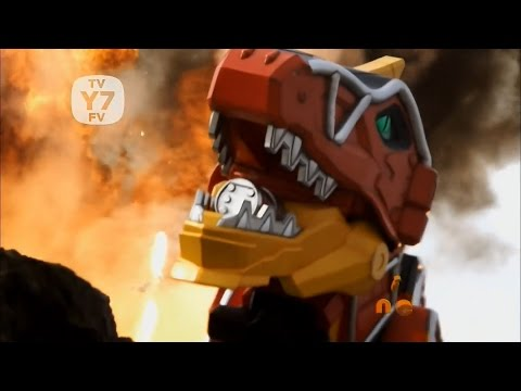 Power Rangers Dino Charge - Past, Present, and Fusion - The Power Rangers meet the T-Rex Zord