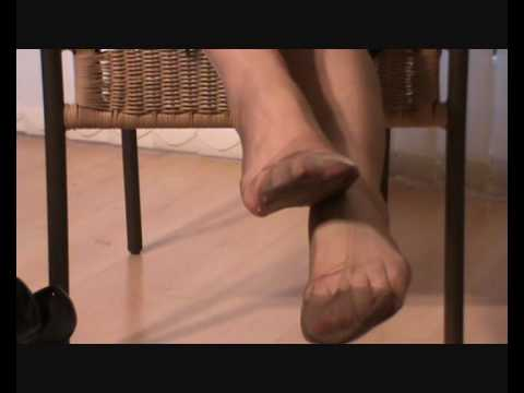 My feet and toes in RHT dark tan nylon stockings 4 legsnfeetntoes