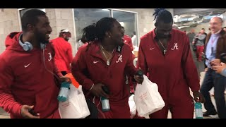 Alabama players dance to the bus after wild win at Mississippi State