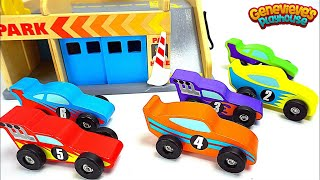 Genevieve Teaches Kids with Colorful Cars and Parking Deck!