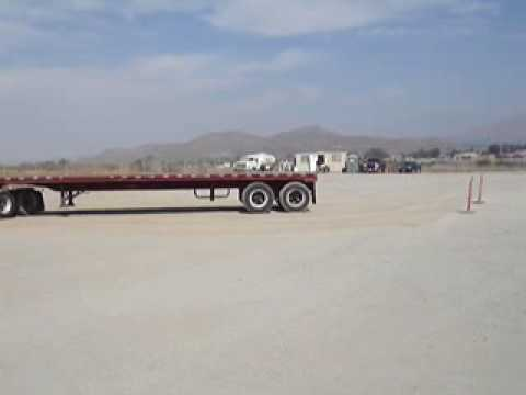 Me alley docking a flat bed. Getting ready for DMV again.