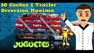 🚚 Mega Trailer Hot Wheels 🚓 Y Mas De 50 Carros Revisión 😀 Emoji Cargo Carros Pesados Al Trailer 💪😱