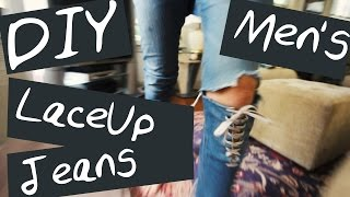 DIY Men's Lace-Up Ripped Jeans (Back To School/College) || Kent Heckel
