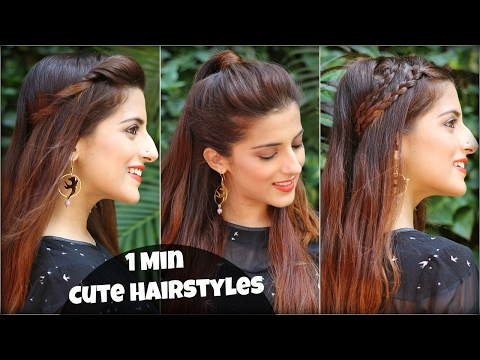 1 Min CUTE & EASY Everyday Hairstyles For School, College, Work / Alia Bhatt / Indian Hairstyles