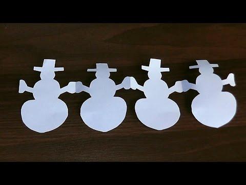 Как сделать гирлянду снеговика из бумаги